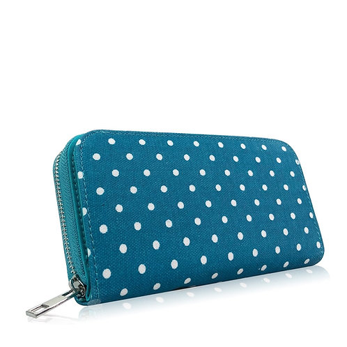 Turquoise Polka Long Purse