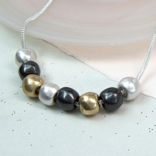 N21024 Triple Colour Large Bead Necklace