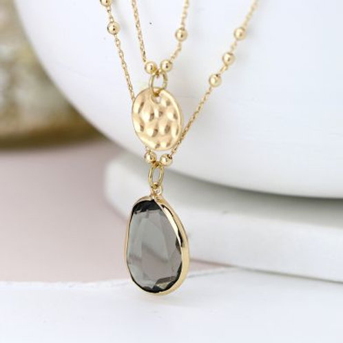 Double Chain Pendant Necklace - Gold