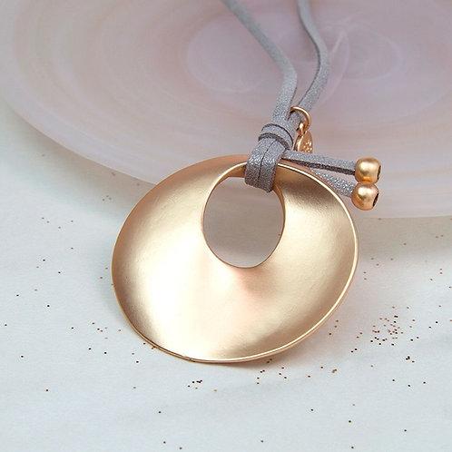 LN19044 Long Golden Twist Disc Necklace