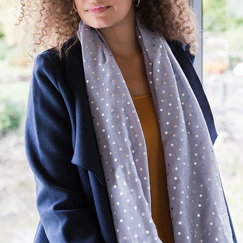 Grey with Silver Spot Scarf