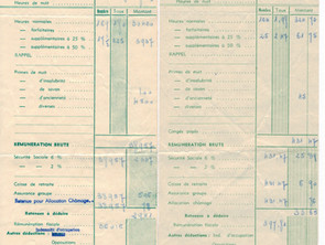 En 1960 les bulletins de paie d'Ambroise sont passés des anciens aux nouveaux francs !!!