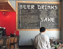 Beer menu at Pho Pho Pho