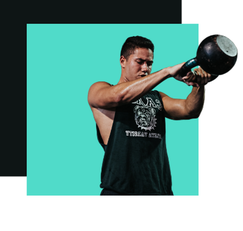 elevate kettlebell about