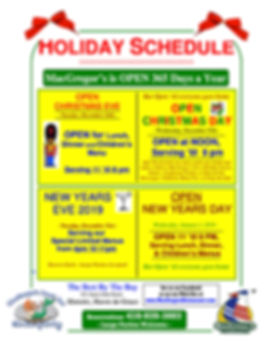 MacGregor's Holiday Schedule