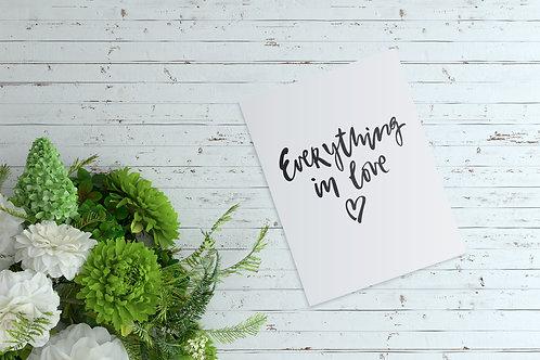 """Открытка А6 """"Everything in love"""""""
