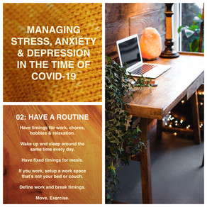 Managing stress, anxiety and depression in the time of Covid-19