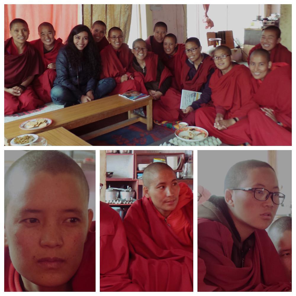 Therapist Bindiya Murgai with Buddhist Nuns at the Sakya Monastery
