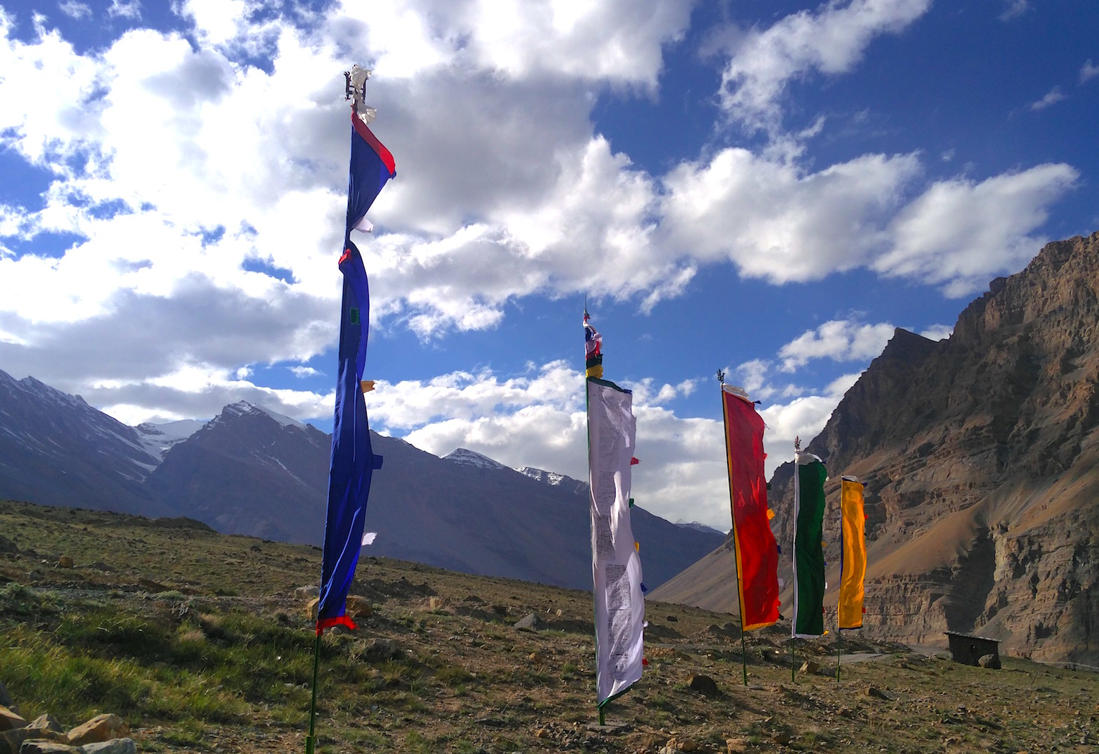 Darchor Flags, Spiti Valley, Himalayas, India