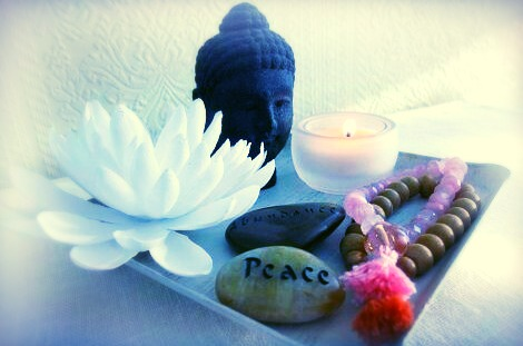 Prayer beads, message stones, candles and incense are all very useful meditation tools.