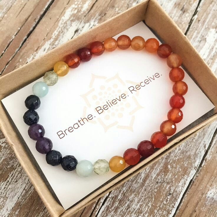 Chakra bracelet for meditation, or bracelets that reinforce a positive message helps keeps you grounded in your practice