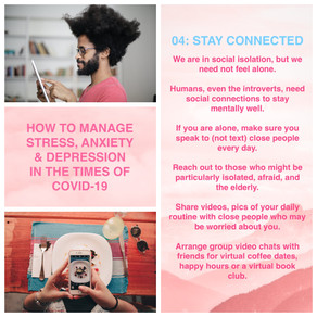 How to manage stress, anxiety and depression in the times of Covid-19