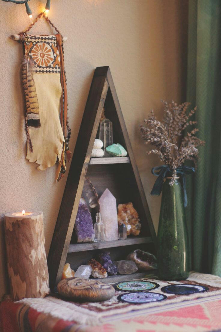 Wonderful space efficient way to create your meditation corner with an altar, cushion, plant and other meditation tools.
