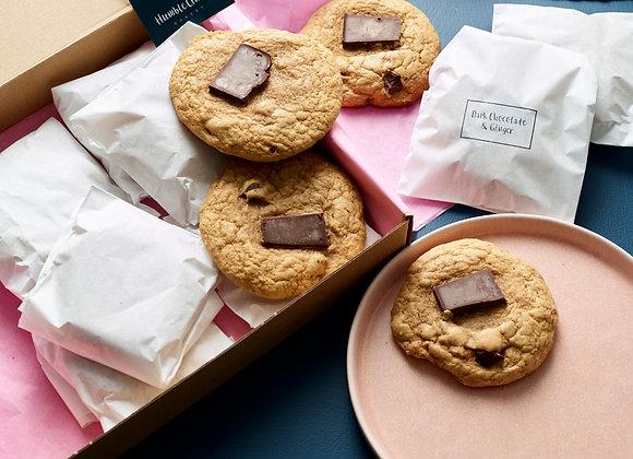 Dark Chocolate Chunk & Ginger Cookies - Box of 12