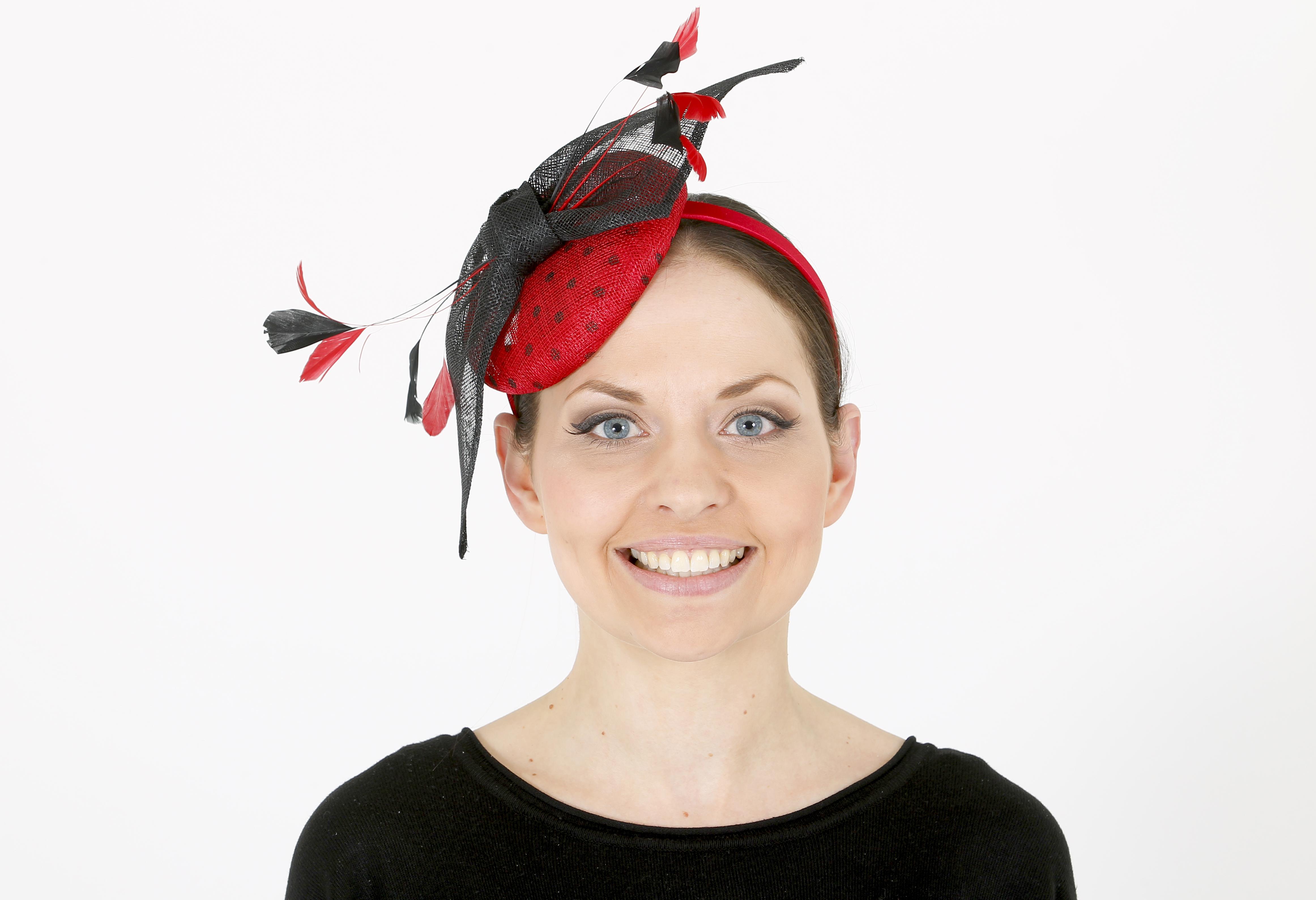 5f24d735ae475 Large red netted fascinator on a headband. Ephemera
