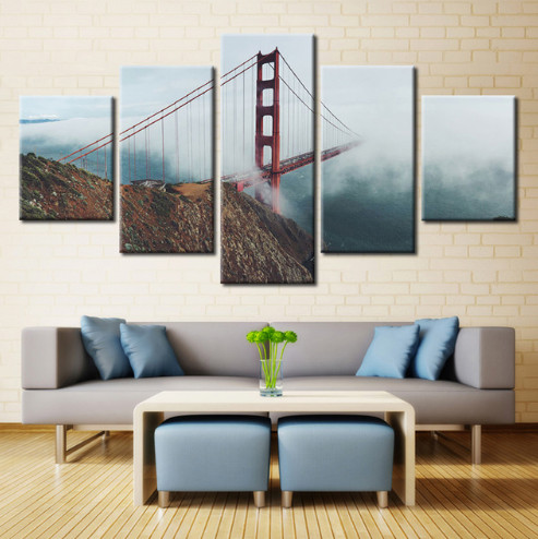 5 Panel Golden Gate Bridge Chain Bridge Fog Rope Modern Home Wall Decor