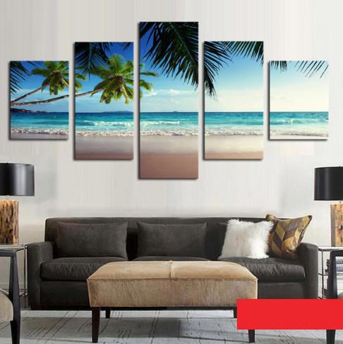 5 Panel Coconut Tree Blue Sky And Ocean Beach Seascape Home Wall Decor