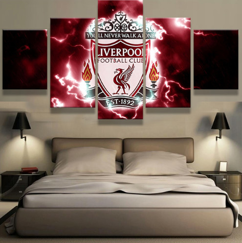 Soccer Wall Decor 5 panel liverpool f c soccer team modern home wall decor | welcome