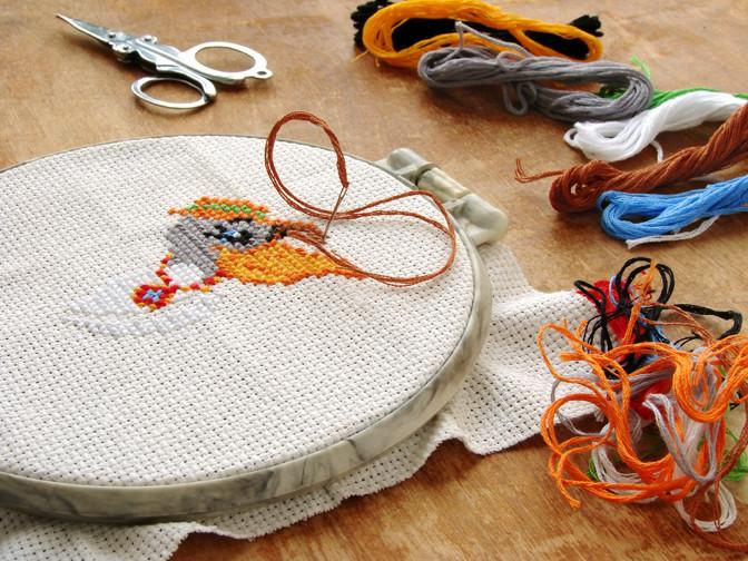 cross stitching at birch trail