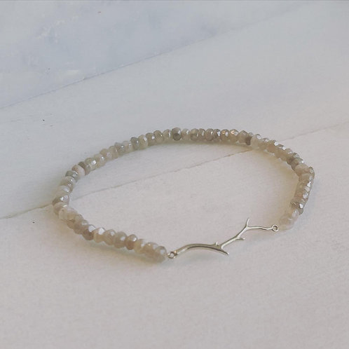 Silver Branch Bracelet with Rainbow Moonstone Beads