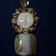 Druzy Quartz with Faceted Amethyst and a Natural Herkimer Diamond.