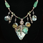 """I love the way the stones and shell compliment each other in this necklace. It had a """"beachy"""" feel."""