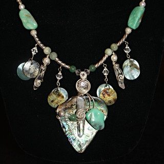 "I love the way the stones and shell compliment each other in this necklace. It had a ""beachy"" feel."