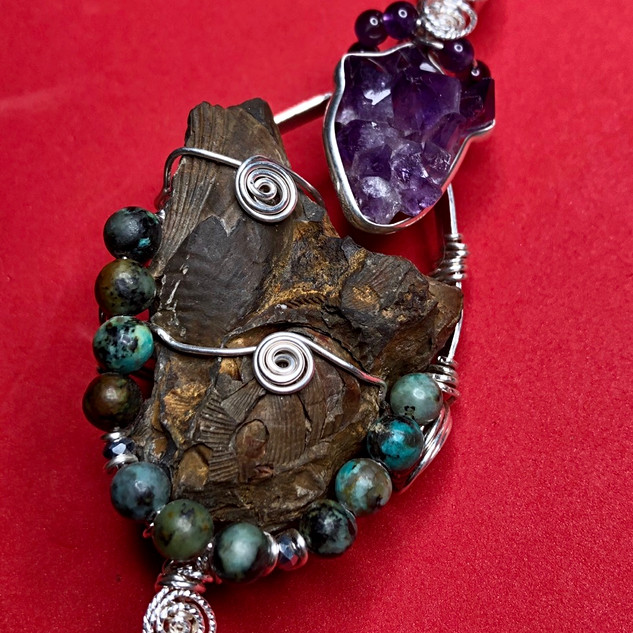 Fossil with Amethyst, African Turquoise