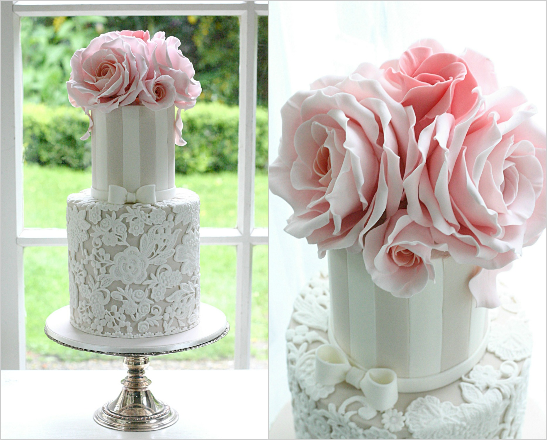 Lace wedding cake peach roses