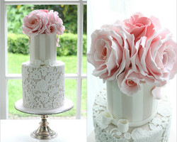 Lace wedding cake peach roses