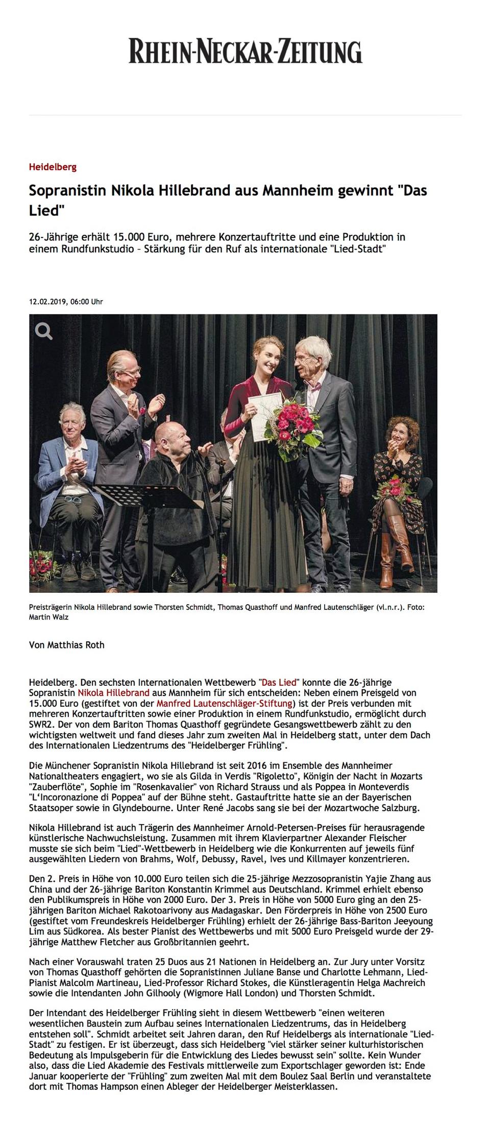 """Sopranistin Nikola Hillebrand aus Mannheim gewinnt """"Das Lied"""""""