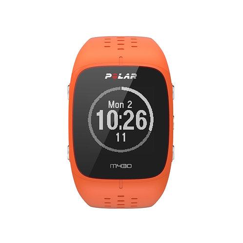 Polar M430 GPS horloge (oranje) met hartslagmeting op de pols