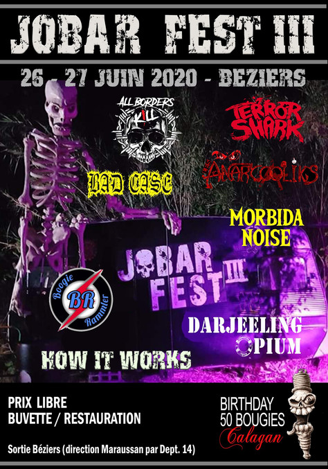 27/06/20 - Live, Darjeeling Opium (Fatcat records) Jobar'fest III, Béziers(34).