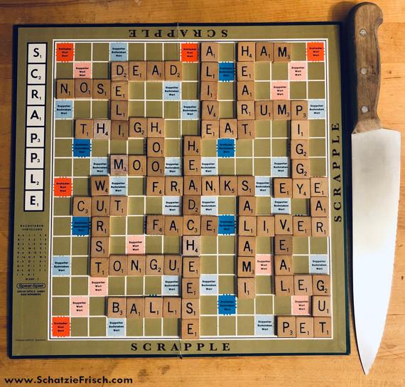 Scrabble Scrapple Board with website cop