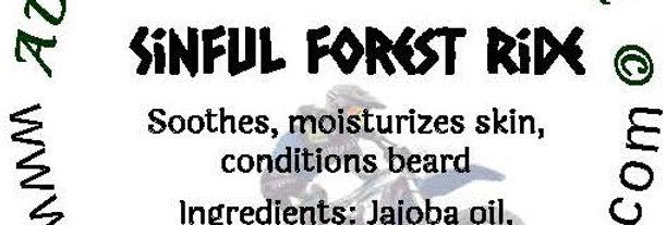 Sinful Forest Ride beard oil 1 oz $6; 2 oz $10; balm 1 oz $6
