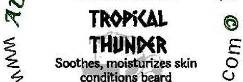 Tropical Thunder beard oil 1 oz $6; 2 oz $10; balm 1 oz $6
