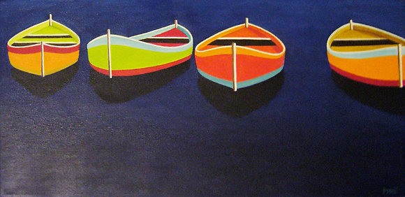 """Painted Boats"" oil on canvas 10x20"
