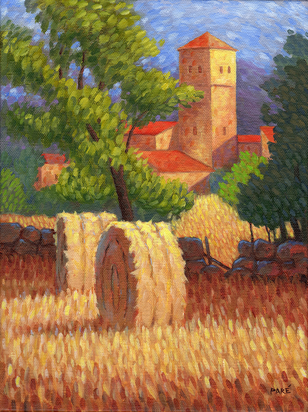 Hay Bales Acrylic Painting