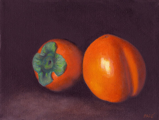 """""""Persimmons"""" oil on canvas 6x8"""