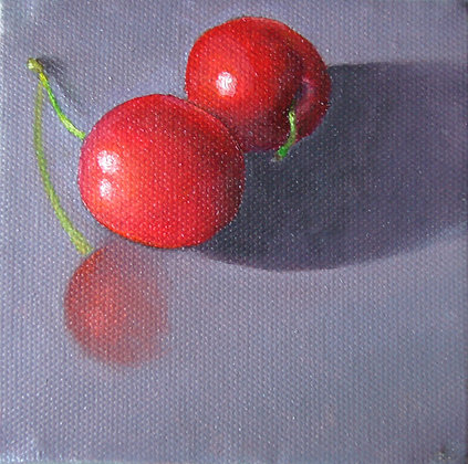 """Cherries"" (reflection) oil on canvas 4x4"