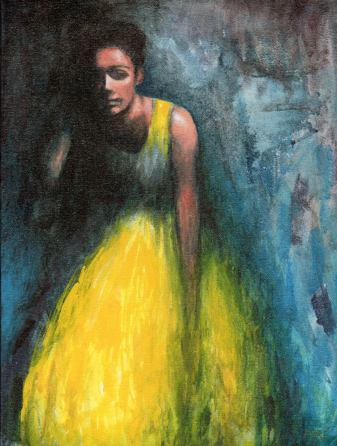 Lady in Yellow 12x16 acrylic