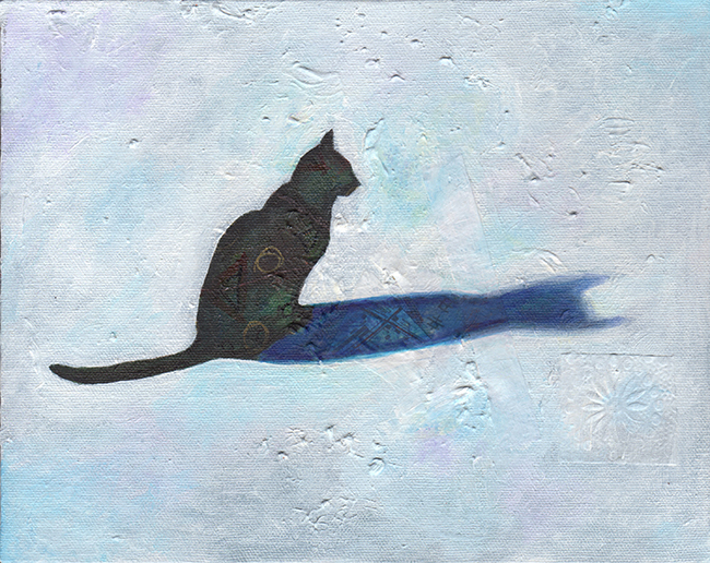 Shadow Cat 8x10 acrylic mixed media