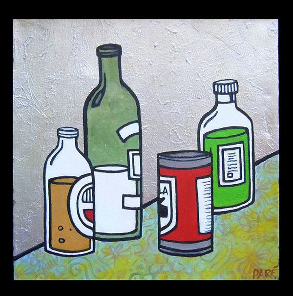 Bottles and Can -mixed media