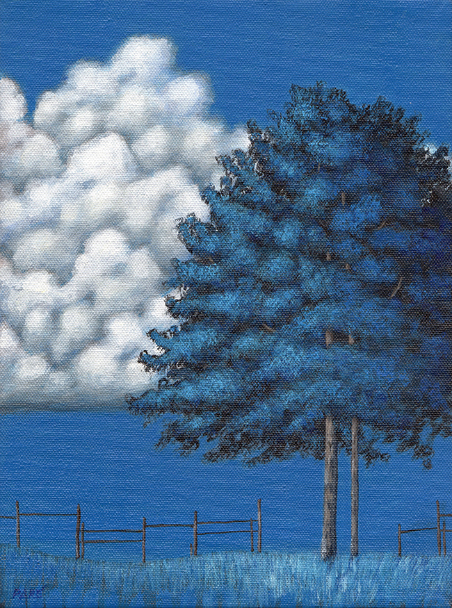 Blue Tree and Clouds 9x12 acrylic