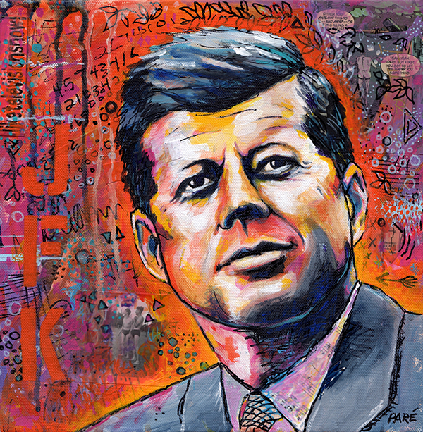 JFK acrylic on canvas 12x12