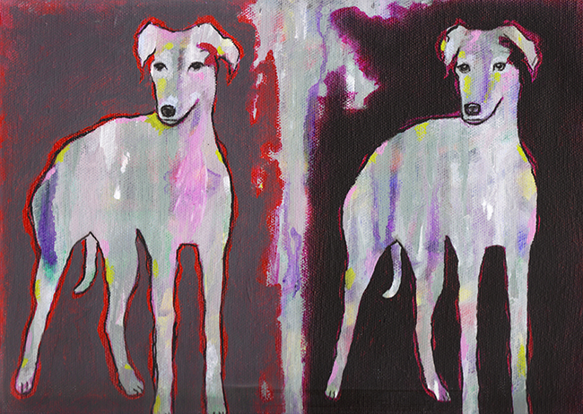 Doggy Warhol 11x14 oil