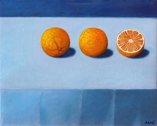"""Two and a Half Oranges"" oil on canvas 8x10"