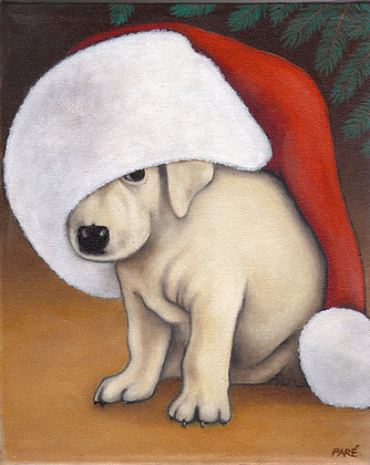 """Puppy Under the Tree"" oil on canvas 8x10"