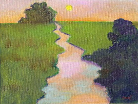 """Sunset Creek"" oil on canvas 6x8"