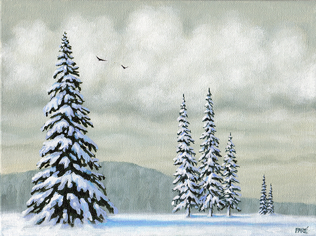 Snow Covered Evergreens 9x12 acrylic